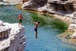 Water-jumping  on Socotra