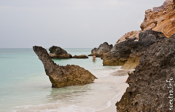 Socotra Picture of the Day: Bather on a deserted shore