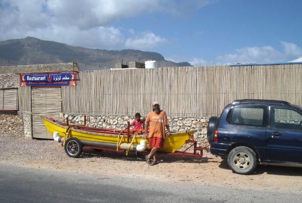 Junk rig sail on Socotra