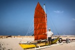 Tritamam - outrigger sailing canoe with junk rig sail
