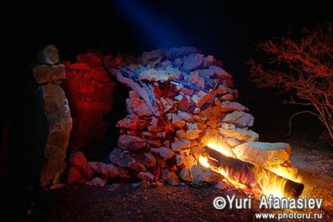 Socotra Picture of the Day: Night bonfire in the village of dreams