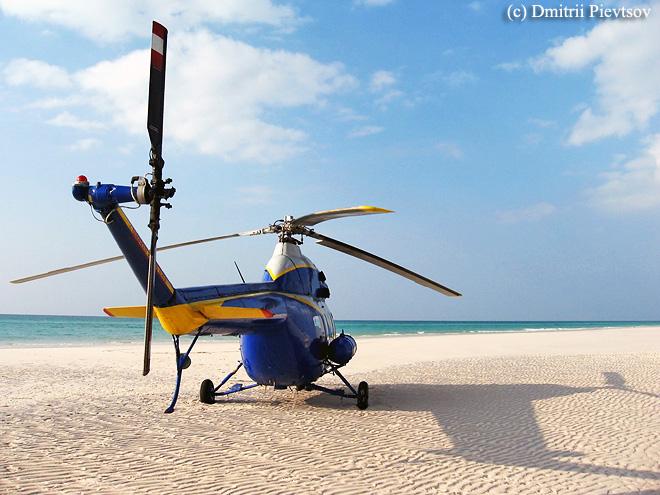 Вертолёт, пляж, побережье